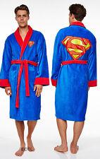 NEW DC Comics Man of Steel SUPERMAN Adult Men Fleece Dressing Gown Bathrobe Robe