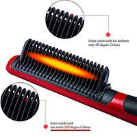 Electric Quick Heated Beard Straightener Brush Hair Comb Curling Curler Show Cap