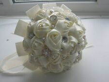 Handtied Bouquet Ivory Brooch Wedding Flowers Satin Rose Posy Artifical