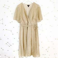 Torrid Wrap Dress Size 0 Large Gold Mesh Metallic Polka Dot Short Sleeve Party