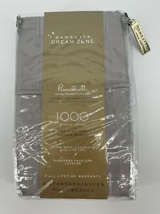 New! Wamsutta Dream Zone 2 Pima Cott Pillowcases 1000 TC Standard Gray Cotton