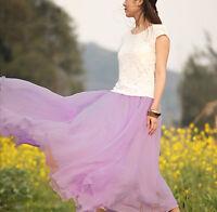 Hot Women Elegant Chiffon Elastic Waist Band Pleated Beach Long Maxi Skirt Dress
