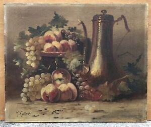 Tableau Ancien Huile René Joseph GILBERT (1858-1914) Nature Morte Fruits Pêches