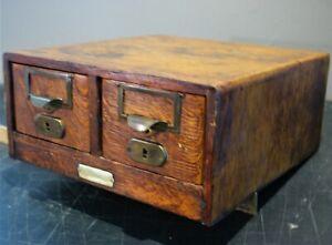 "Antique 6 Drawer  Oak Library Index 3 1/4"" x 5"" Card Catalog File Cabinet"