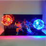 RARE Dragon Ball Z VEGETA & GOKU Power Up Led Light Lamp Action Figure Toy Set