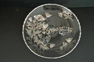 Vtg. Silver Overlay on Glass ~ 25th Wedding Anniversary Candy / Serving Dish