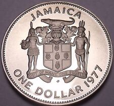 Rare Cameo Proof Jamaica 1977 Dollar~Only 10,000 Minted~Prime Minister~Free Ship