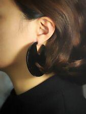 orecchini A perno Grandi Tondo Acrilico Nero Perla Leggero Semplice M3