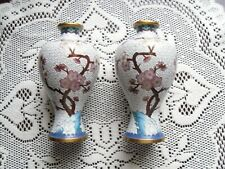 """Nice set of Chinese cloisonne vases w pink cherry blossoms bird gold accents 6"""""""