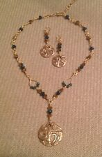 Handcrafted Bronze clay & Swarovski crystal jewelry necklace & earring set Blue