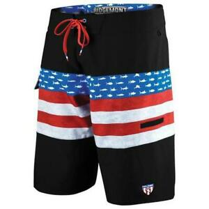 Pelagic Ridgemont Americamo Red White Blue Fishing Shorts Boardshorts Sz 38 NEW