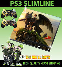 PLAYSTATION PS3 SLIM STICKER HOW TO TRAIN YOUR DRAGON TOOTHLESS 01 & 2 PAD SKINS