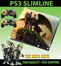 Playstation PS3 SLIM AUTOCOLLANT COMMENT FORMER VOTRE DRAGON ÉDENTÉE 01 & 2 pad skins