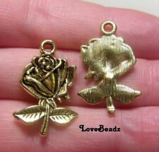 15 Gold Rose Charms-Flower-Romance-Love-Garden-Earring Drops-Jewelry Making Lot