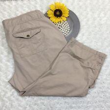 Old Navy Womens Khaki Capri Casual Pants Size 8 Stretch Cuffed Beige cr3427