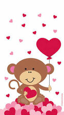 12 x Valentines Monkey & Hearts Loot Bags Party treat favour bags Zipper Seal