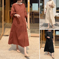 ZANZEA Womens Summer Puff Sleeve A-Line Sundress Casual Loose Kaftan Maxi Dress