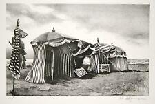 DUBIGEON Loic - Lithographie originale signée - Plage Normande