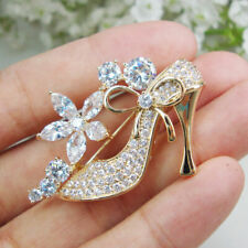 New Elegant Lady High Heels Clear Zircon Crystal Brooch Pin Exquisite Gift