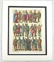 1895 Antico Stampa Medievale Germania Tedesco Cavaliere Militare Suit Di Abito