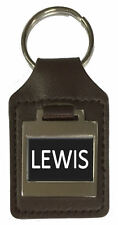 Leather Keyring  Birthday Name Optional Engraving - Lewis