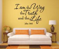 John 14:6 Bible Verse Christian I am the Way Vinyl Wall Decal Quote Art Sticker
