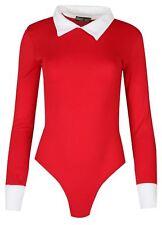 Ladies Peter Pan Collard Leotard Bodysuit 8-14