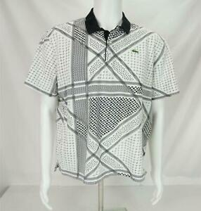 Lacoste Live! All Over Print Polo Shirt Black & White Men's Size 8
