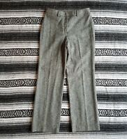 Brooks Brothers Sz 8 High Rise Waist 100% Wool Dress Trousers Gray Tweed Italy