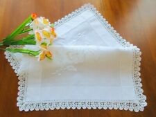 """Antique Scottish Embroidered White Tray Cloth Tablecloth Handmade Lace Trim 20"""""""