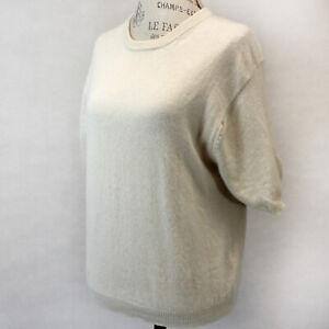 BALLY 2-Ply 100% Cashmere Knit Crew Neck Ivory Short Sleeve Sweater Large