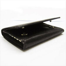 Black Mens GENUINE LEATHER Keychain Holder Case Thin Key Rings Trifold Wallet