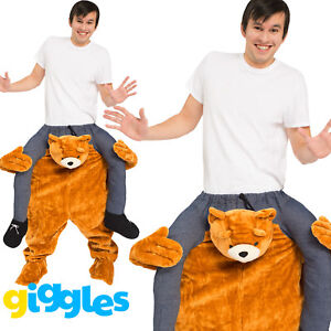 Teddy Bear Piggy Back Ride On Me Mascot Mens Fancy Dress Carry Costume Stag Do