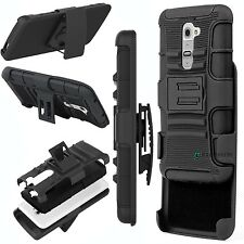 New Rugged Hard Impact Hybrid Cover Case + Belt Clip Holster Kickstand For LG G2