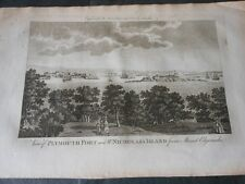 1700 BEAUTIFUL COPPER ENGRAVED PLYMOUTH FORT AND ST. NICHOLAS'S ISLAND ENGLAND