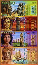 SET Easter Island, 500;1000;2500;5000 Rongo, 2011-2012, Polymer, UNC