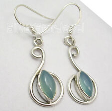 """MARQUISE CHALCEDONY 925 Sterling Silver HANDCRAFTED WOMEN'S New Earrings 1.6"""""""
