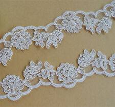 """Bridal Embroidered Floral Lace Edging Ivory Corded Wedding Trimming Ribbon 2"""""""
