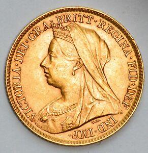 LUSTROUS 1896 Queen Victoria Veiled Head Gold Half Sovereign