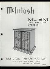 Rare Original Factory McIntosh ML 2M Loudspeaker System Speaker Service Manual