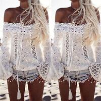Women lace Off Shoulder Tops Long Sleeve Shirt Casual Blouse Loose T-shirt HOT
