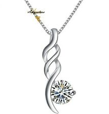 "Sterling Silver Love 4mm Cubic Zirconia Pendant Necklace 18"" Chain Gift Box C6"