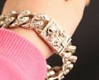 Chinese Collect Asian tibet miao silver cool skull statue fashion bracelet art