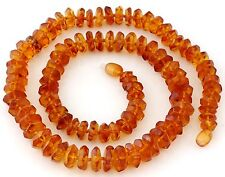 """Genuine Russian Honey Baltic Amber Necklace Faceted Rondelle Beads 22"""" 33 gr."""