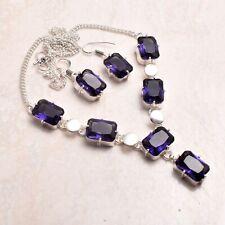 Tansanit ethnische handgemachte Halskette + Ohrringe Schmuck 27 GMS 72357