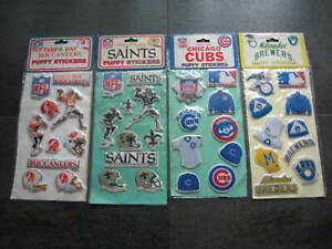 NFL & MLB Vintage 1983 PUFFY STICKERS Official Licensed Products *FREE SHIPPING*