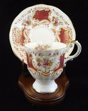 Vintage Teacup and Saucer Rosina Queens Pedestal Pink & Gold with Pink Roses