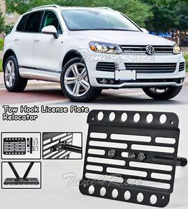 For 04-18 Volkswagen Touareg Front Bumper Tow Hook License Plate Mount Bracket