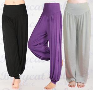 Damen Pumphose Pluderhose Haremhose Aladin Hose Yoga Yogahose Fitness Sport H01