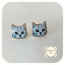 Luna the cat Earring studs Handmade  🐈cat face crazy cat lady💖 free postage 💖